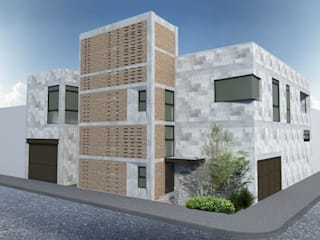 HF Arquitectura Eclectic style houses Bricks Grey