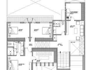 Planta Alta: Recámaras de estilo  por HF Arquitectura