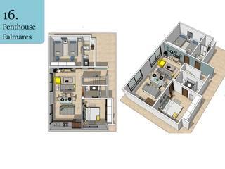 Plantas 3D: Estudios y oficinas de estilo topical por Andrea Loya