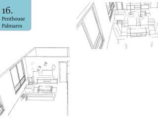 Sketches de la sala: Salas de estilo topical por Andrea Loya