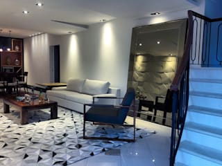 Residência M & C - Base contemporânea para casa na Zona Sul do Rio de Janeiro (EM FINALIZAÇÃO): Salas de estar  por Lucio Nocito Arquitetura e Design de Interiores