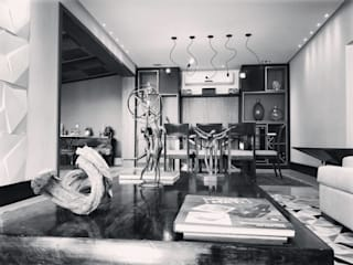 Residência M & C - Base contemporânea para casa na Zona Sul do Rio de Janeiro (EM FINALIZAÇÃO): Salas de jantar  por Lucio Nocito Arquitetura e Design de Interiores