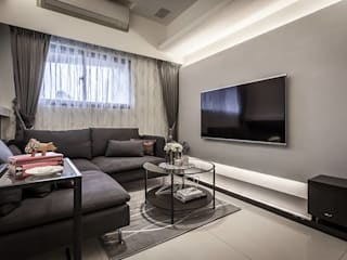 你你空間設計 Modern living room Grey