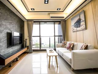 侑信仁和 9A:  客廳 by 栩 室內設計