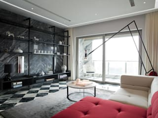 Sergio Mannino Studio Modern living room Granite