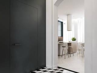 Mieszkanie w kamienicy, Katowice Skandynawski korytarz, przedpokój i schody od Łuszczkiewicz Magdalena Skandynawski