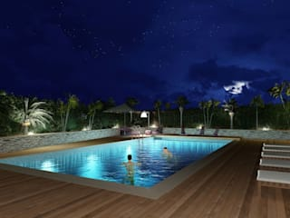 Mediterranean style pool by Planet G Mediterranean