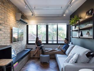 K+S arquitetos associados Ruang Keluarga Gaya Industrial