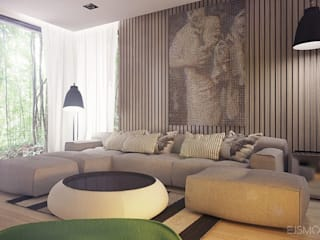 Salones de estilo moderno de Ejsmont - pracowania architektoniczna Moderno