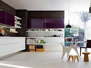 Purple Kitchen: modern Kitchen by home makers interior designers & decorators pvt. ltd.