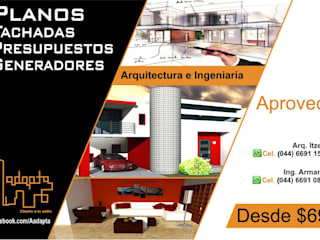 ingeniero arquitecto planos diseño fachadas:  de estilo  por ADAPTA arquitecto ingeniero