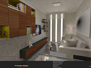 Studio com 30m² Salas de estar modernas por Levolu Interiores e Arquitetura Moderno