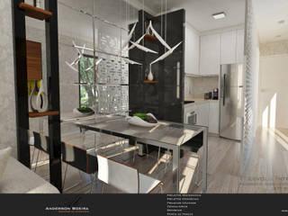Studio com 30m²: Salas de jantar  por Levolu Interiores e Arquitetura