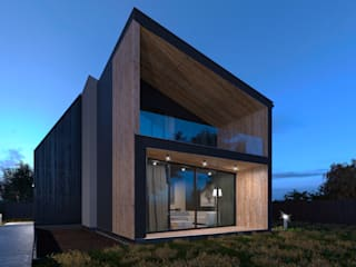 Grynevich Architects Minimalist house Wood Black