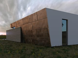 Grynevich Architects Minimalist house Copper/Bronze/Brass Multicolored