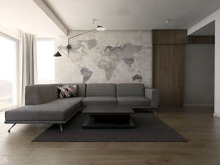 Ceglany apartament Nowoczesny salon od TIKA DESIGN Nowoczesny