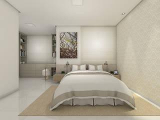 Suíte do Casal - Apartamento L+M: Quartos  por Paralelo Arquitetura e Comunicação
