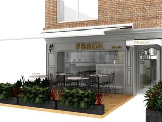 PRAGA _ Salón: Espacios comerciales de estilo  por @tresarquitectos