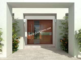 Modern front entry door with horizontal stainless steel stripe.:   by Foret Doors