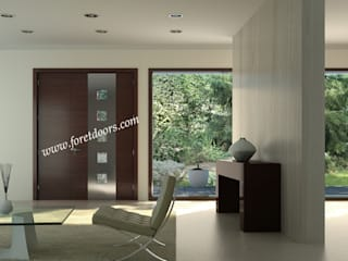 Modern solid wood door with windows and vertical stainless steel strip:   by Foret Doors