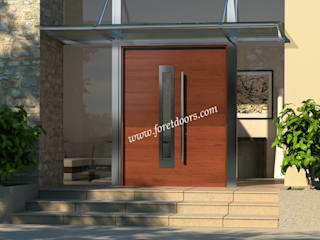 Modern solid wood exterior door with stainless steel accent:   by Foret Doors