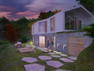 vista giardino esterno:  in stile  di Manrico Mazzoli Architetto