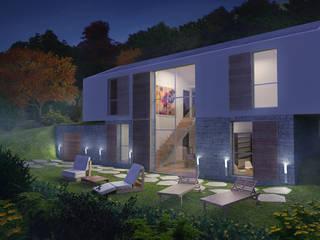vista dal giardino esterno:  in stile  di Manrico Mazzoli Architetto