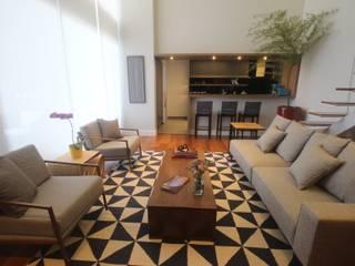 Ana Carolina Cardoso Arquitetura e Design Ruang Keluarga Modern Kayu Grey