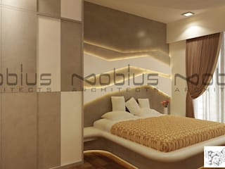 Rhythm Apartment Modern style bedroom by Mobius Architects Modern