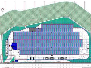 Arqpre Arquitetura Pré-fabricada Ruang Studi/Kantor Modern Kaca Blue