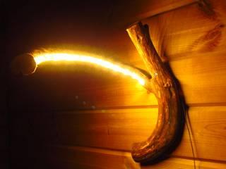 Wurzel-Wandlampe aus Wacholder mit LED:  Flur & Diele von jochens-elch-o-thek