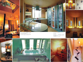 ガラス天板のキッチンとモザイクのバスルーム: スタジオドディチが手掛けたキッチンです。