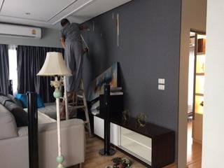 งานผ้าม่าน-วอลเปเปอร์เรียบร้อยแล้วคะ @บ้านกลางเมือง พระราม 2 โดย Idin Home Decor