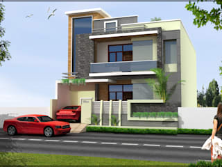 Residence front Elevation Modern houses by Shitiz architects Modern