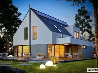 Projekt Adam G2 ENERGO PLUS - energooszczędny dom z dwoma tarasami Nowoczesne domy od Pracownia Projektowa ARCHIPELAG Nowoczesny