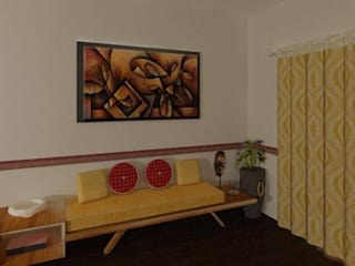 3 BHK (Trimetrix Constructions):  Living room by Kreative design studio