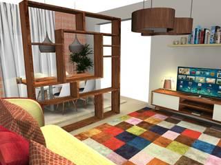 Sala Comum - Espaço Pequeno Pensado ao milímetro... Salas de estar ecléticas por As Marias - Decoração de Interiores (Flora Freitas) Eclético