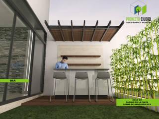 Bar exterior: Jardines de estilo ecléctico por Proyecto Ciudad. Taller de Urbanismo y Arquitectura.