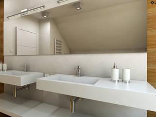 Aranżacja z dwoma umywalkami, odpływy liniowe oraz praktyczne blaty. Nowoczesna łazienka od Luxum Nowoczesny