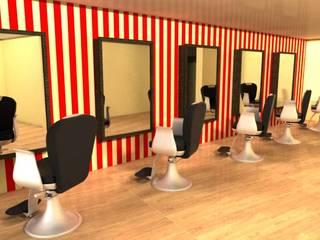 render esapcio para barberos: Estudios y despachos de estilo  por Camargo estudio creativo