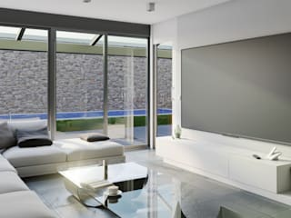 Salón: Salones de estilo moderno de A3D INFOGRAFIA