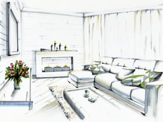 Minimalist Oturma Odası Студия дизайна интерьера 'Золотое сечение' Minimalist
