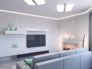 Гармония воздуха Гостиная в стиле минимализм от Студия дизайна интерьера 'Золотое сечение' Минимализм