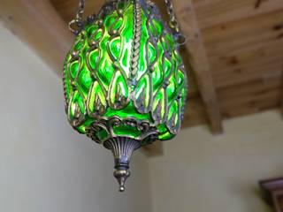 Lampe verte décorative en verre et laiton par KaravaneSerail Éclectique