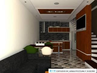 VISTA GENERAL ZONA SOCIAL 01:  de estilo  por B+N Estudio de Arquitectura y Diseño