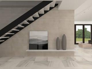 dom w Rosanowie Nowoczesny korytarz, przedpokój i schody od Pracownia Projektowa 4MAT Wojciech Balcerzak Nowoczesny