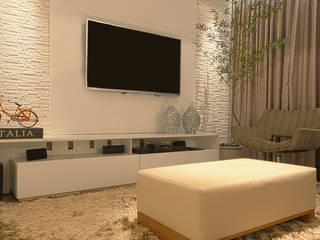 Apartamento de uma grande família Carolina Fontes Arquitetura Salas multimídia modernas Branco