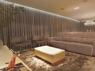 Apartamento de uma grande família Carolina Fontes Arquitetura Salas multimídia modernas Cinza