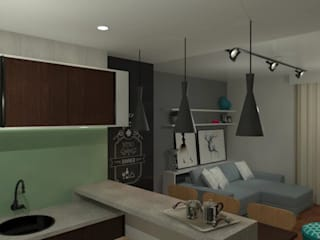 Apartamento: Salas de estar  por Karol Sarnecki - Arquitetura e Interiores