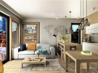Salon z aneksem kuchennym: styl , w kategorii Salon zaprojektowany przez 4-style Studio Projektowe Anna Molin